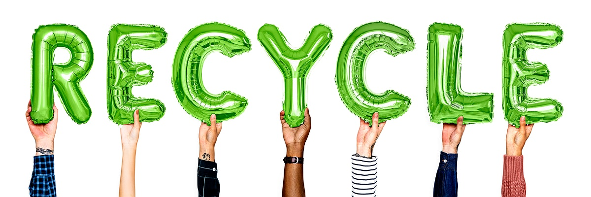 Hands showing recycle balloons word