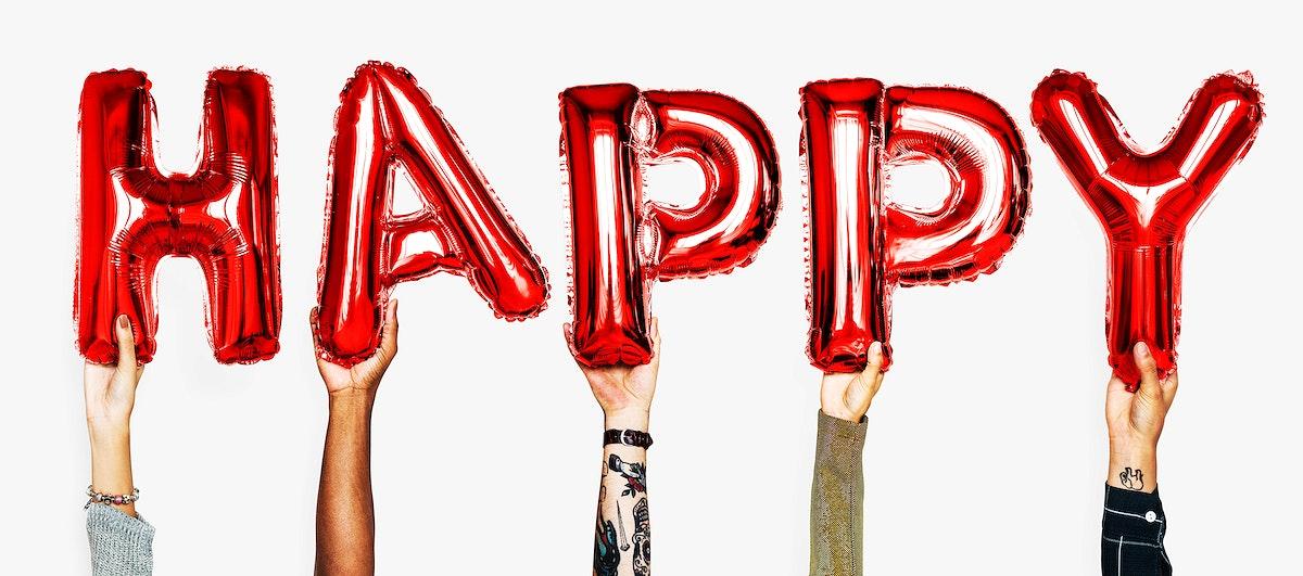 Hands showing happy balloons word