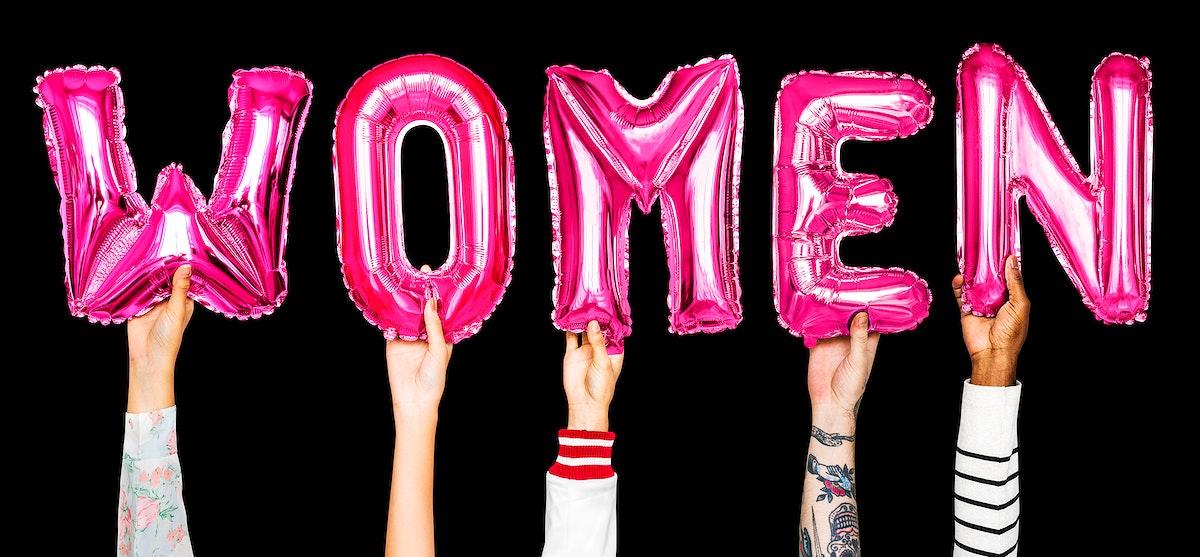Hands showing women balloons word