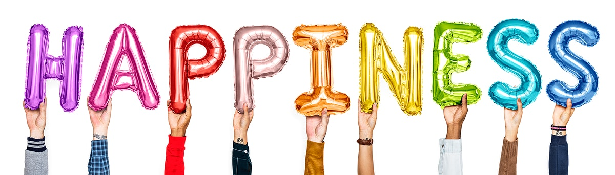 Colorful alphabet balloons forming the word happiness