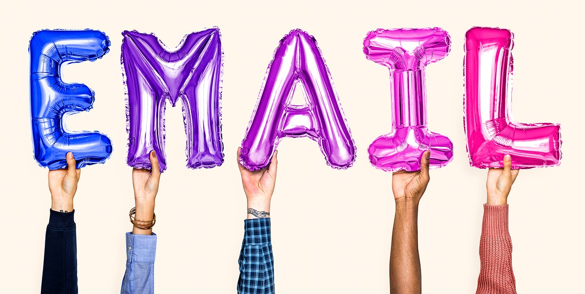 Colorful balloon letters forming the word email