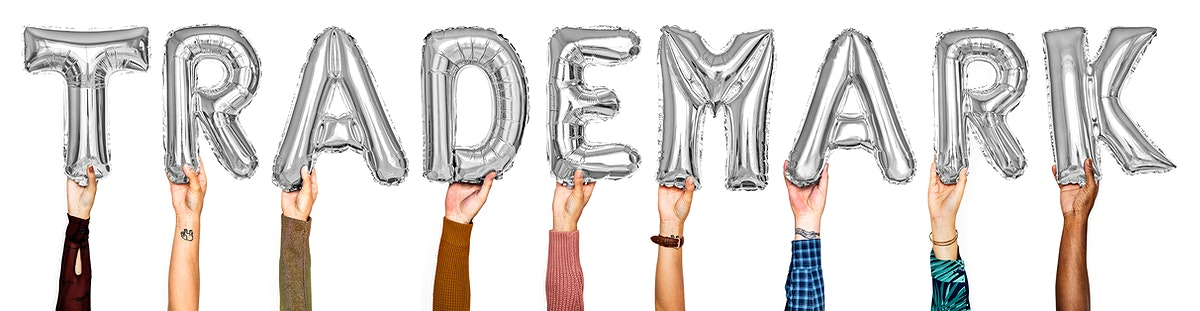 Gray balloon letters forming the word trademark