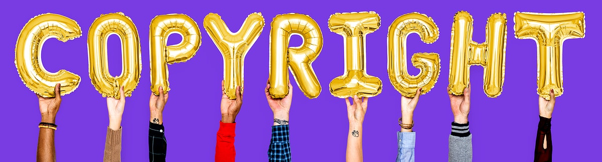 Golden balloon letters forming the word copyright