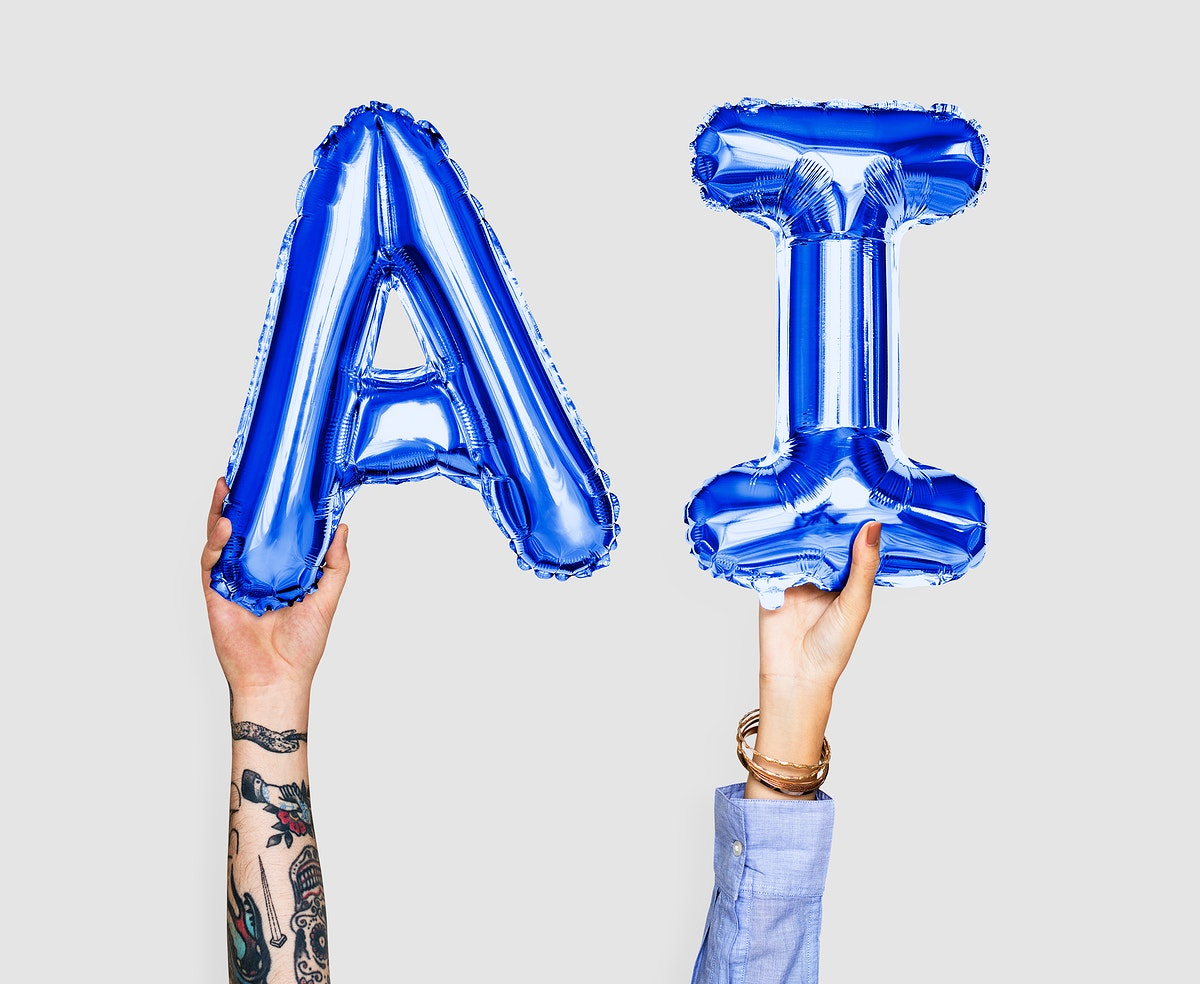 Blue balloon letters forming the word AI