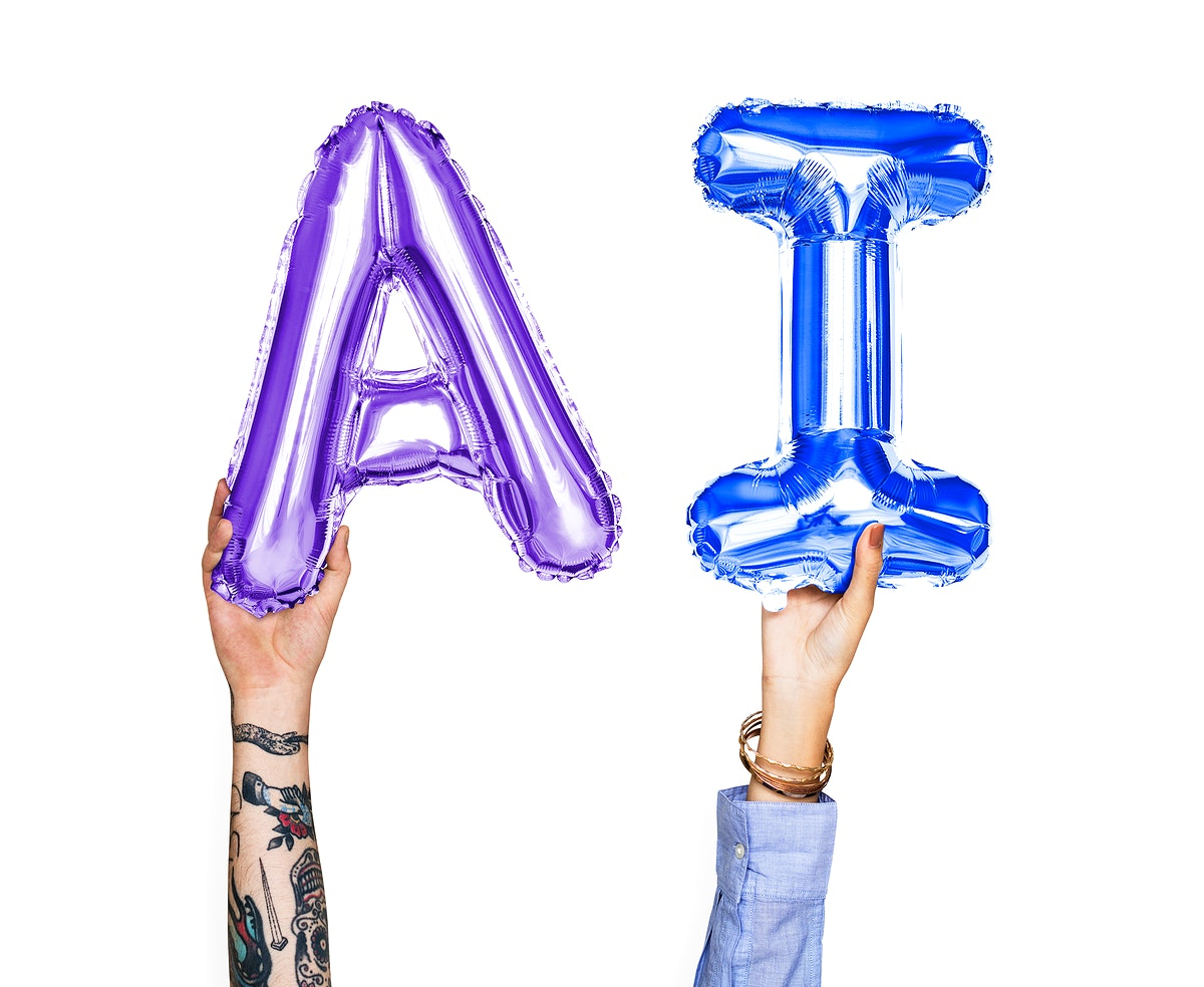 Colorful balloon letters forming the word AI