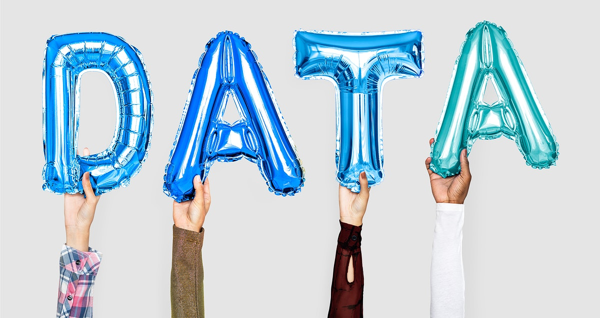 Colorful balloon letters forming the word data
