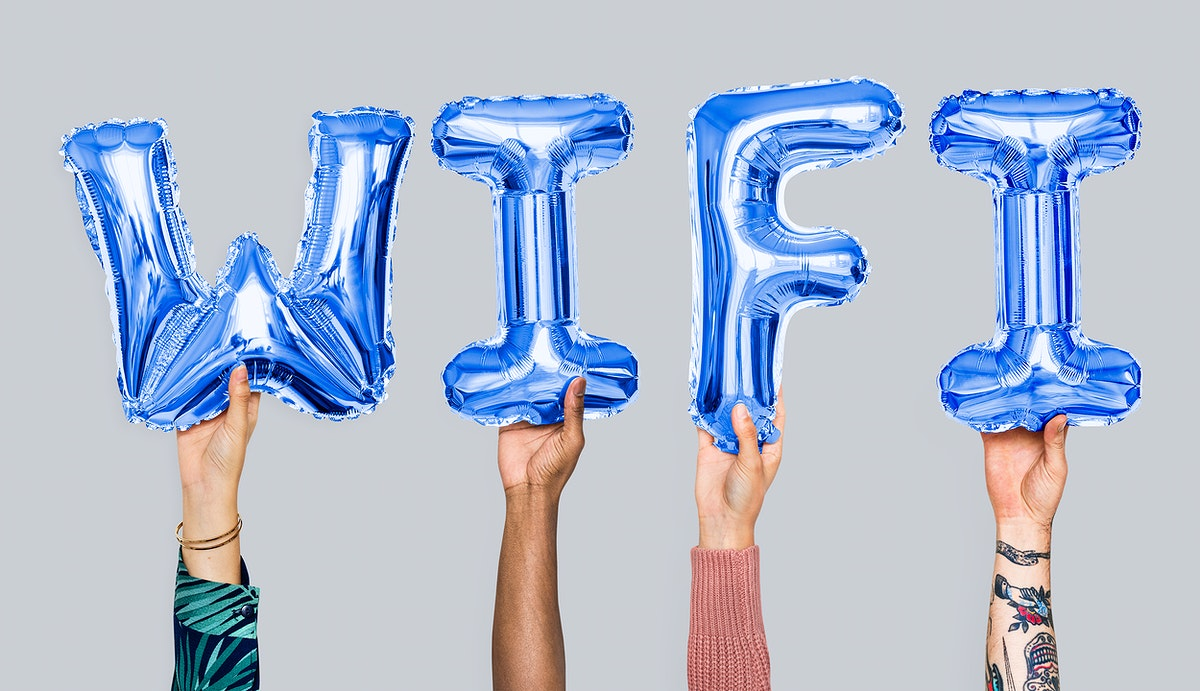 Hands showing wifi balloons word