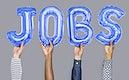 Hands showing jobs balloons word
