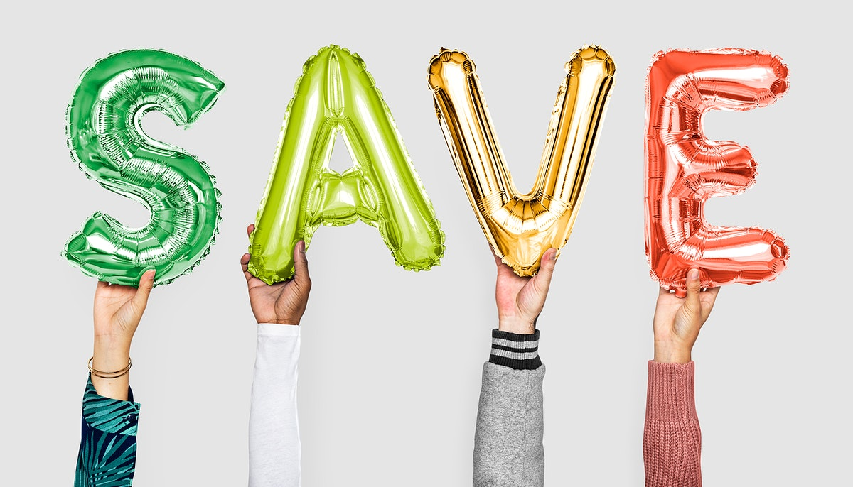 Hands showing save balloons word