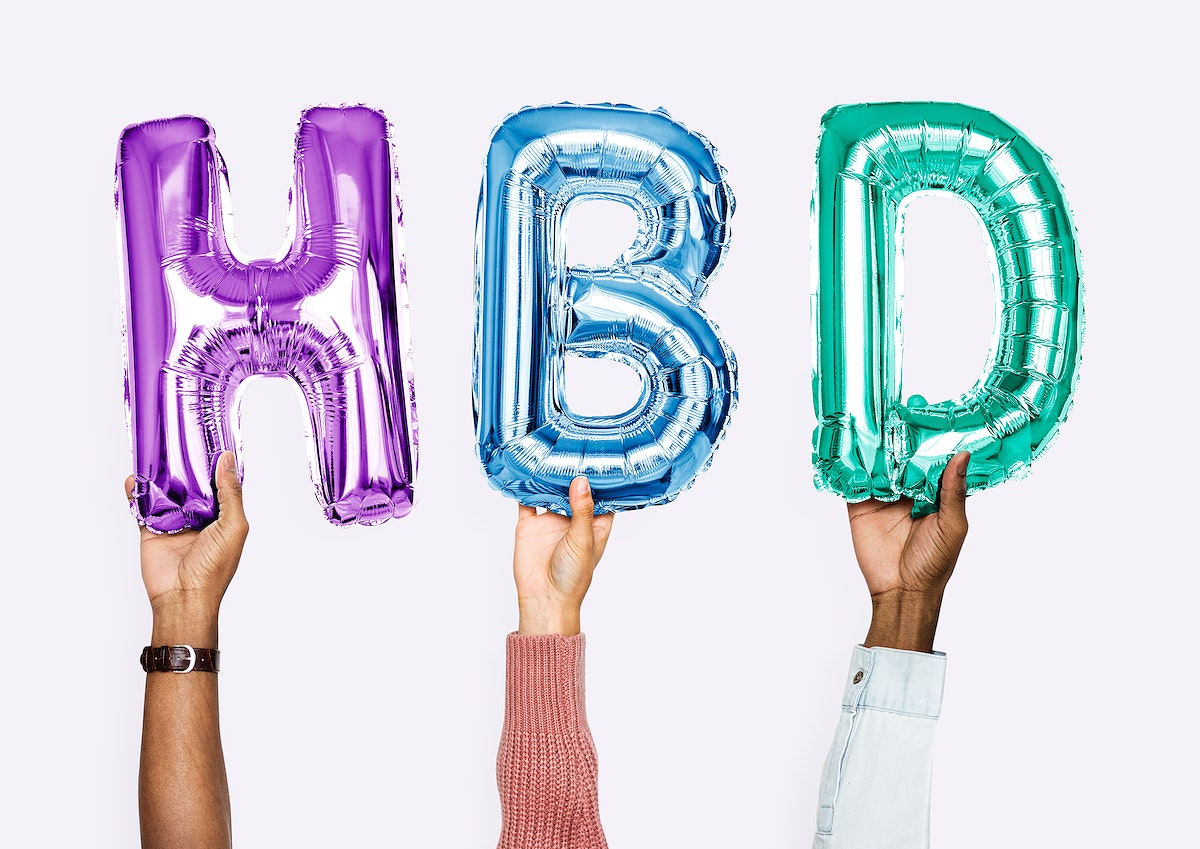 Colorful alphabet balloons forming the word HBD