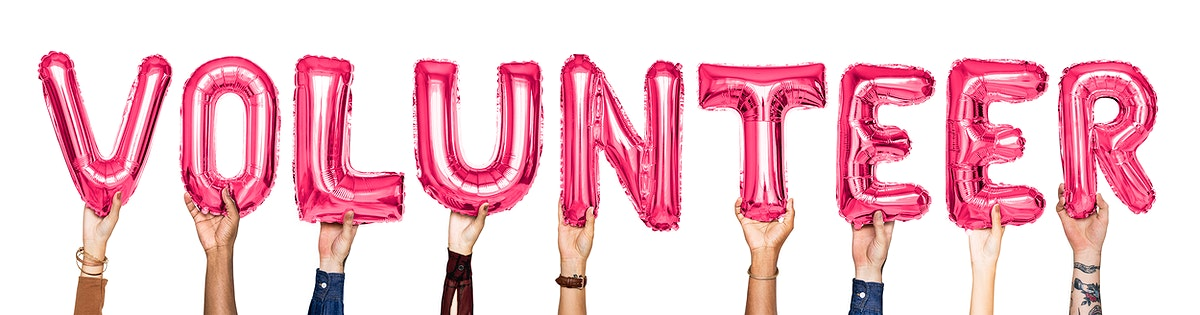 Pink alphabet balloons forming the word volunteer