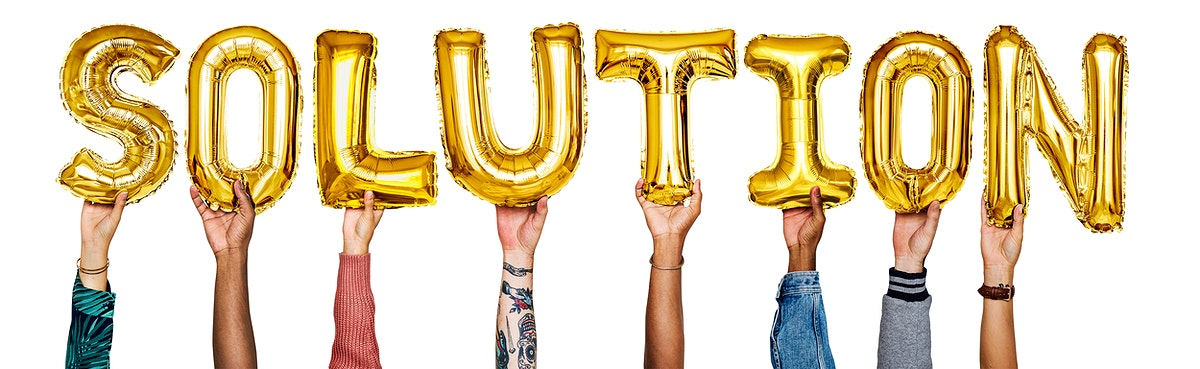 Gold yellow alphabet helium balloons forming the text solution