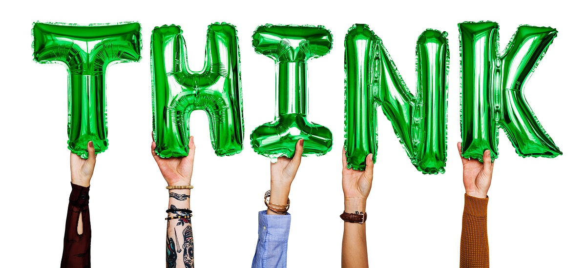 Hands showing think balloons word