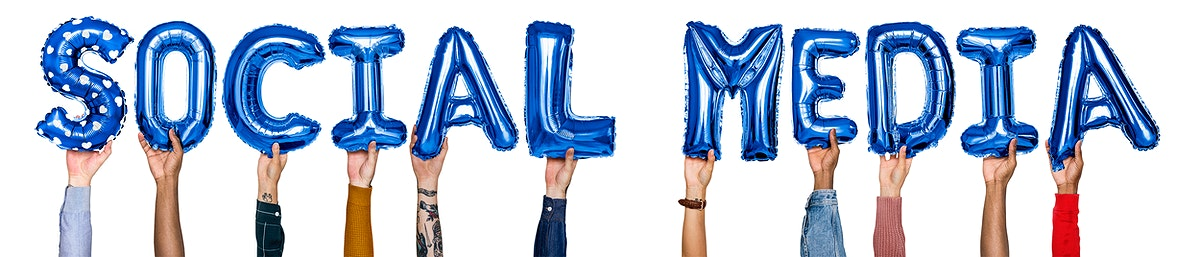 Hands showing social media balloons word