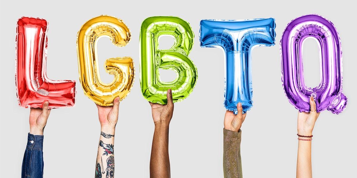 Rainbow alphabet balloons forming the word LGBTQ