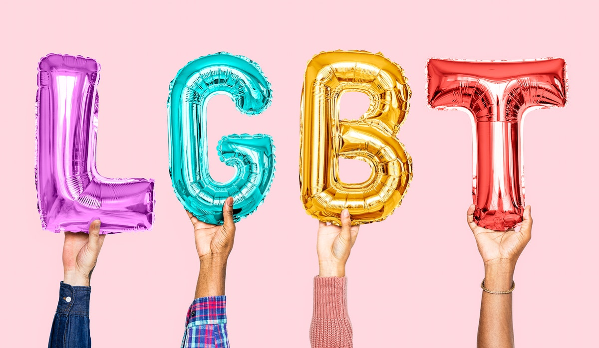 Colorful alphabet balloons forming the word LGBT