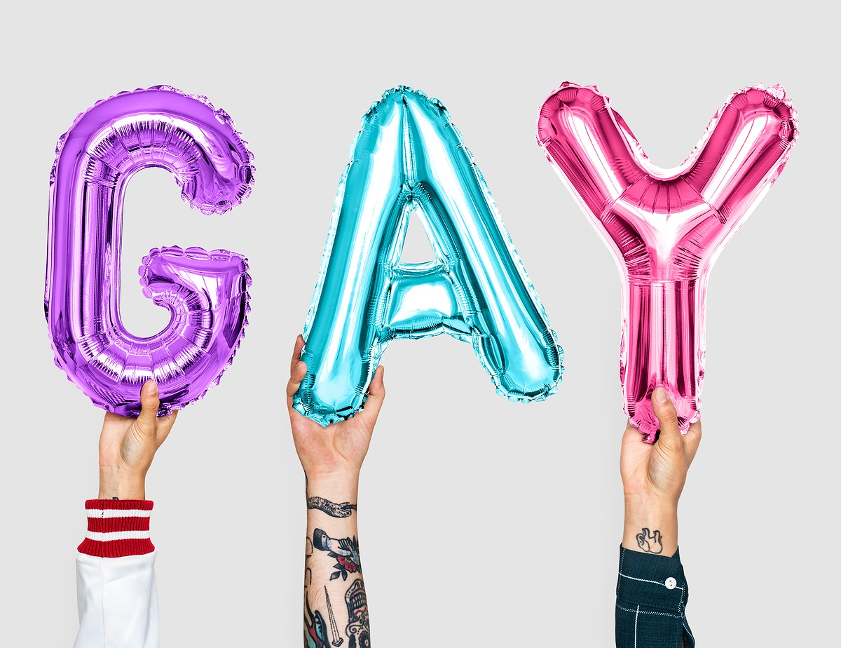 Colorful alphabet balloons forming the word gay