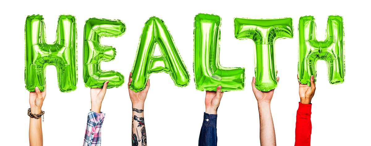 Hands showing health balloons word