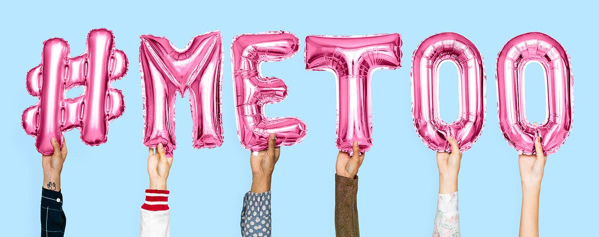 Pink alphabet balloons forming the word #metoo