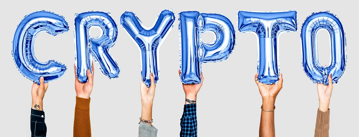 Hands holding balloons spelling Crypto