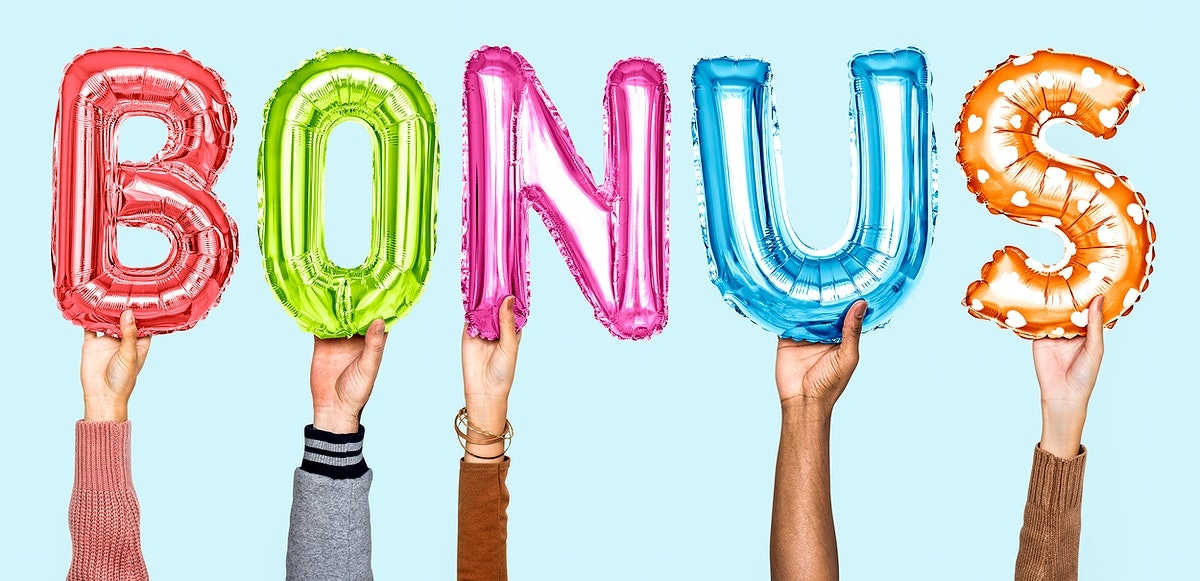 Hands holding balloons spelling Bonus