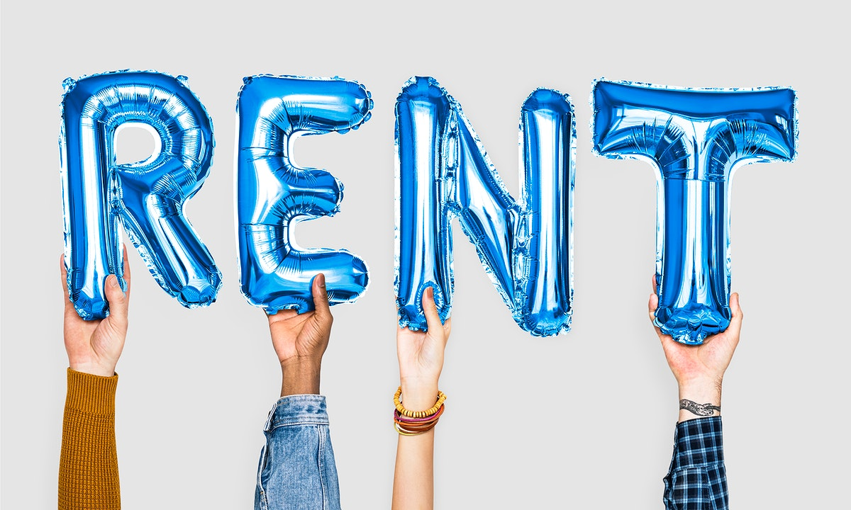 Blue alphabet balloons forming the word rent