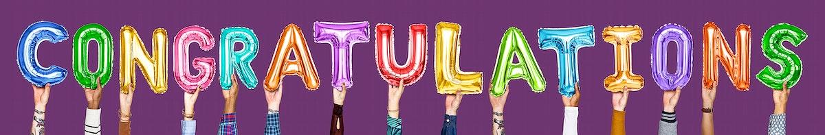Rainbow alphabet balloons forming the word congratulations