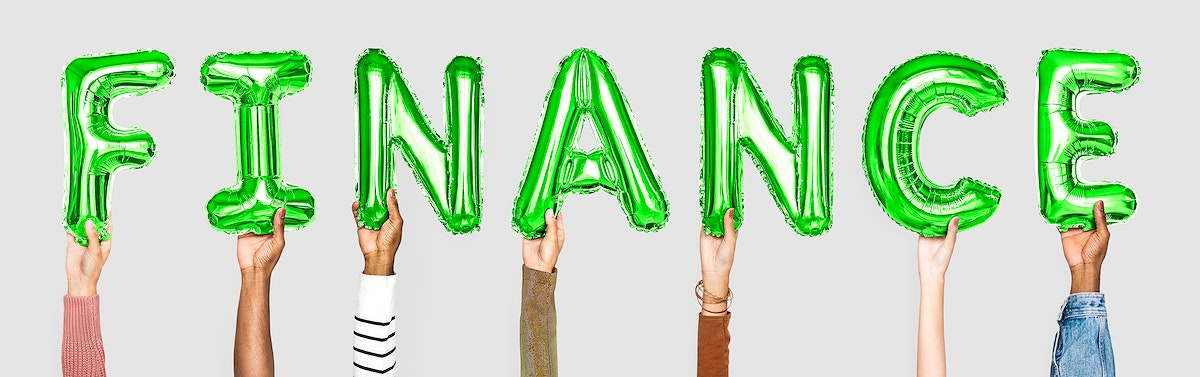 Green balloon letters forming the word finance