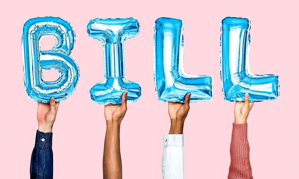 Blue balloon letters forming the word bill