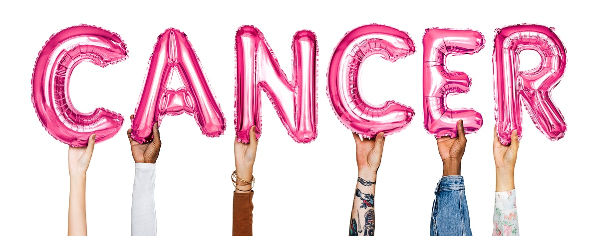 Hands showing cancer balloons word