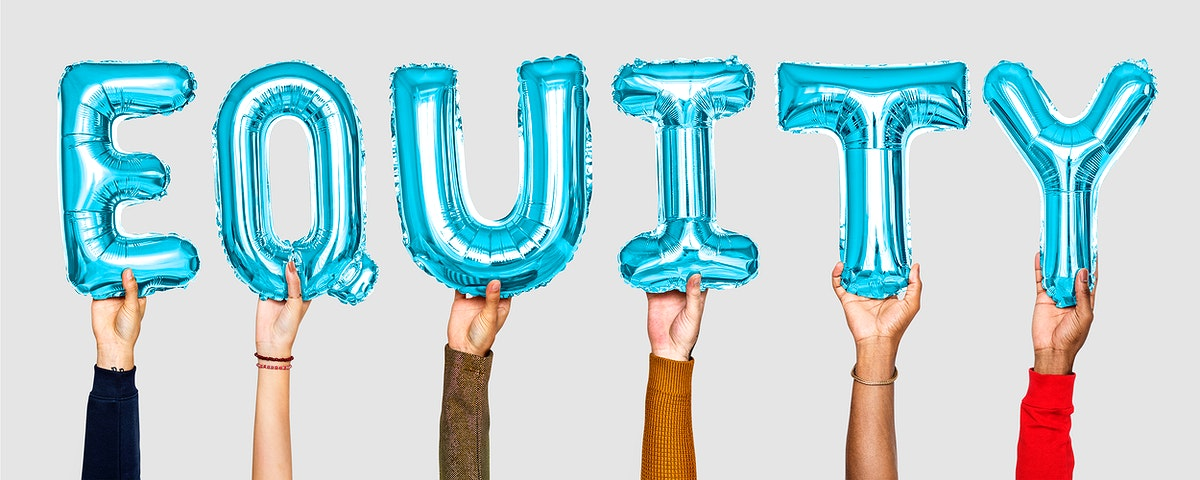 Blue balloon letters forming the word equity