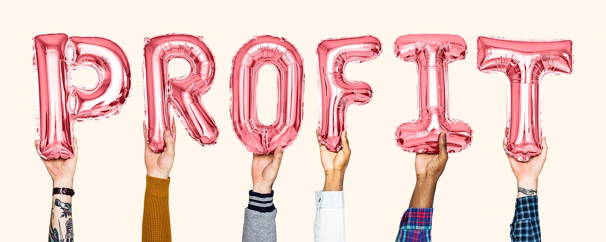 Red balloon letters forming the word profit