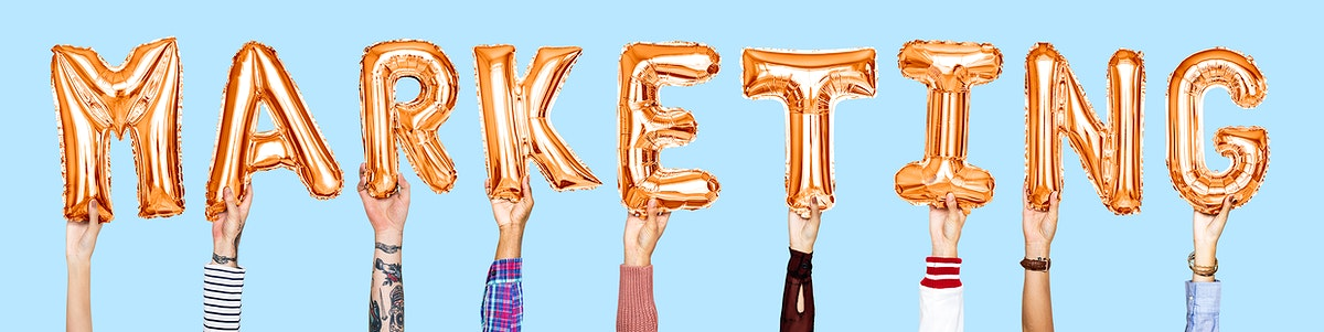Orange balloon letters forming the word marketing
