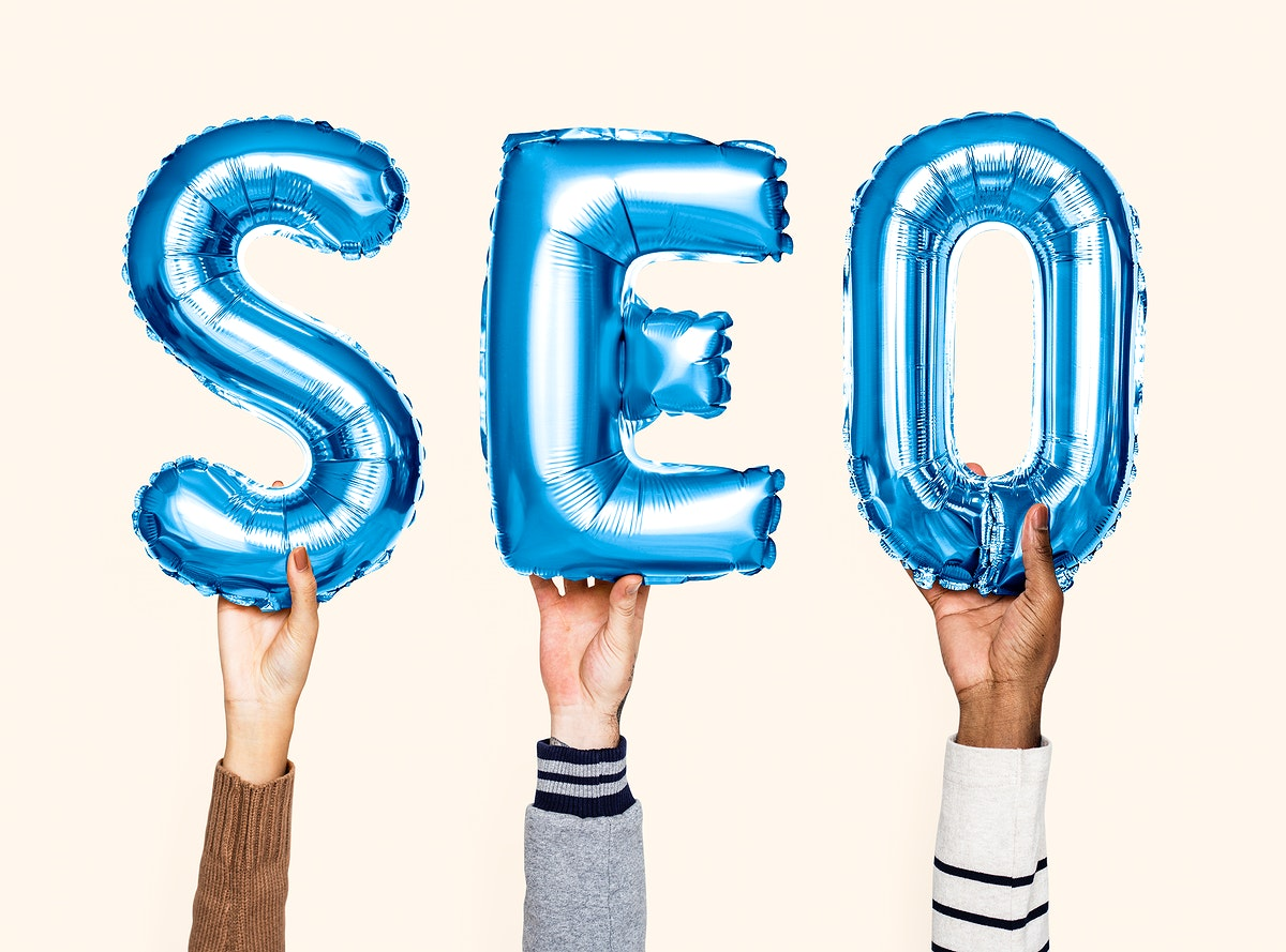 Blue balloon letters forming the word SEO