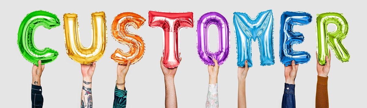 Rainbow alphabet balloons forming the word customer
