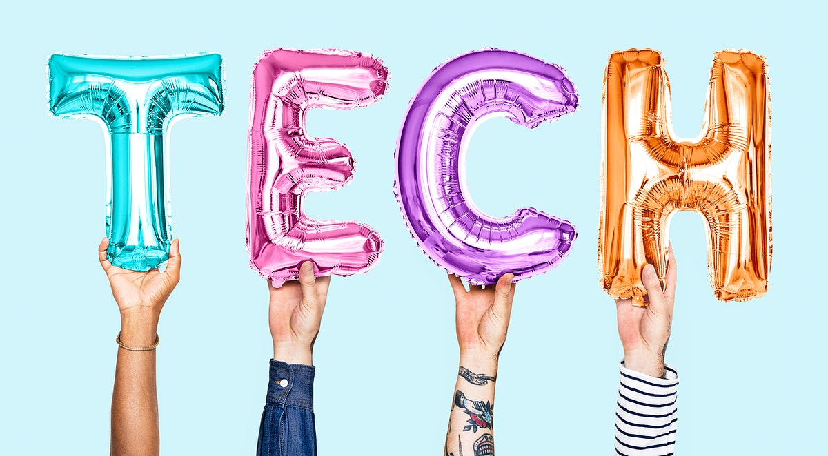 Colorful balloon letters forming the word tech