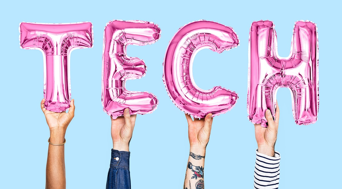 Pink balloon letters forming the word tech