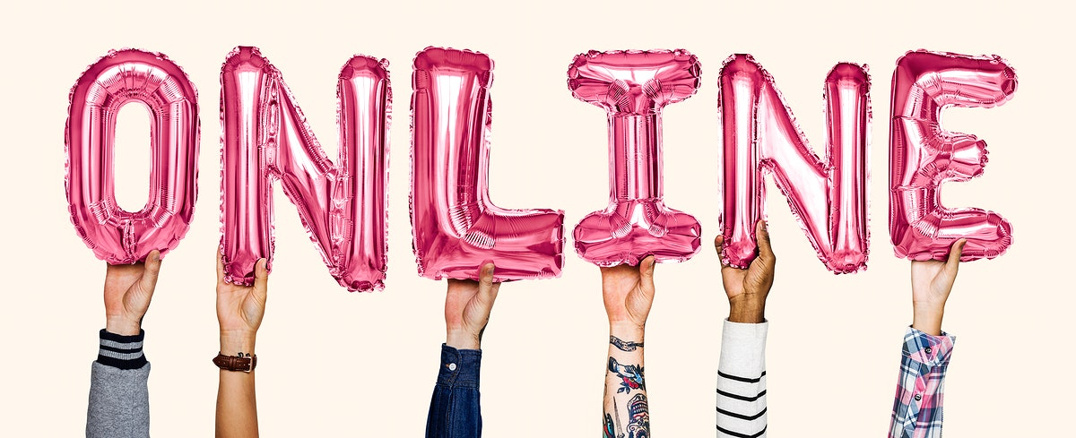 Hands showing online balloons word