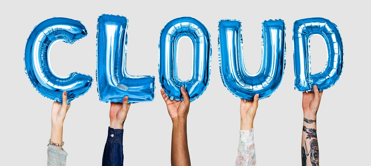 Hands showing cloud balloons word