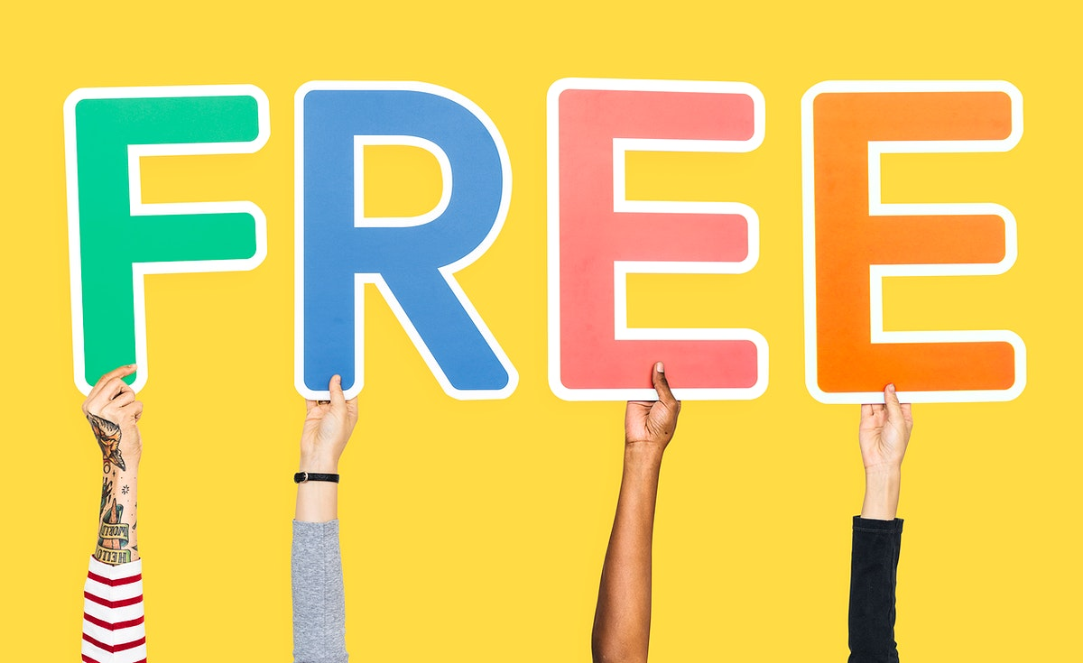 Hands holding the word free