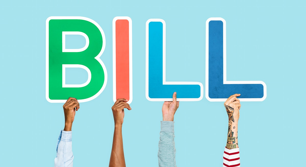 Hands holding up colorful letters forming the word bill