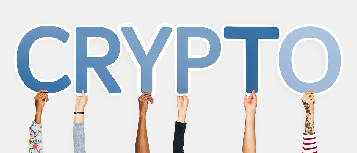 Hands holding up blue letters forming the word crypto