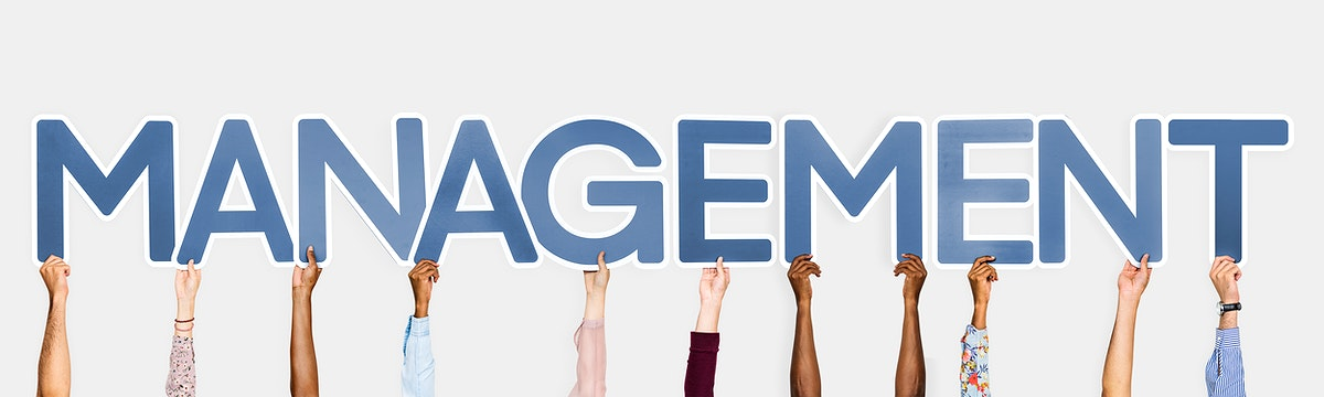 Hands holding up blue letters forming the word management