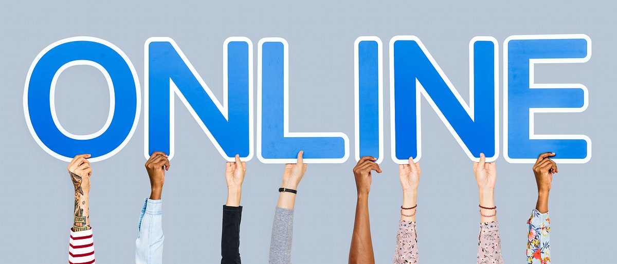 Hands holding up blue letters forming the word online