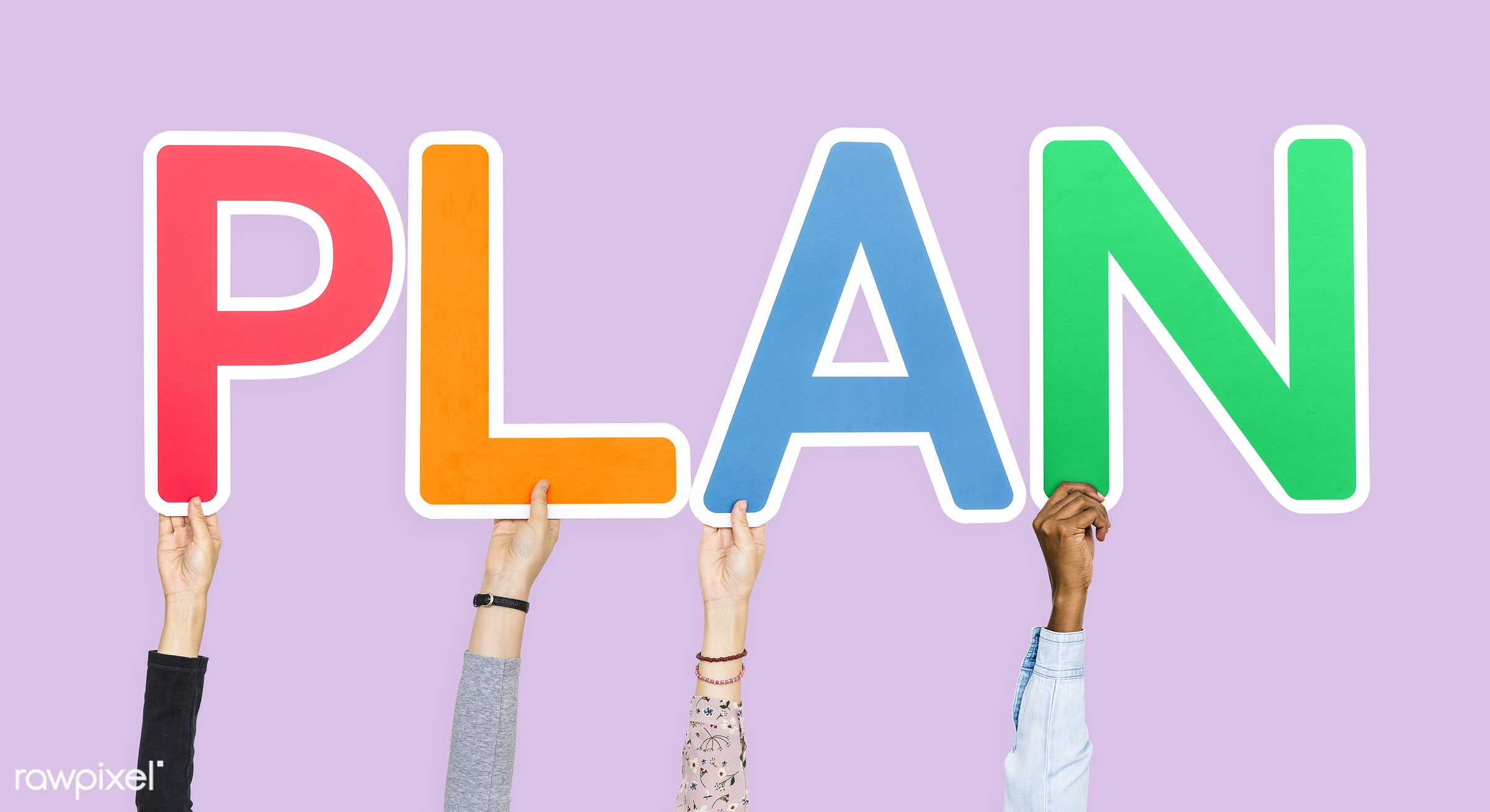 Hands holding up colorful letters forming the word plan - ID: 453861