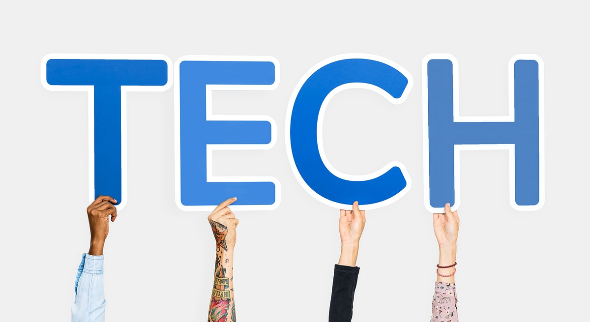 Hands holding the word tech