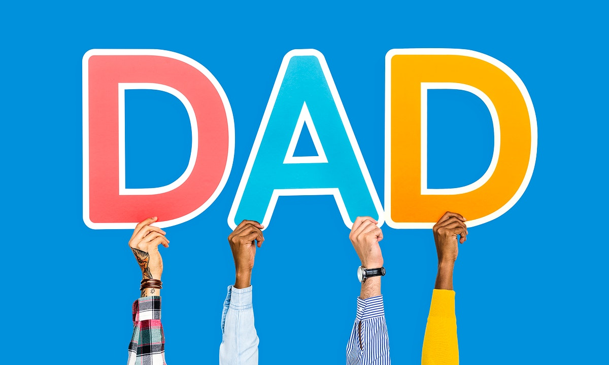 Hands holding the word dad