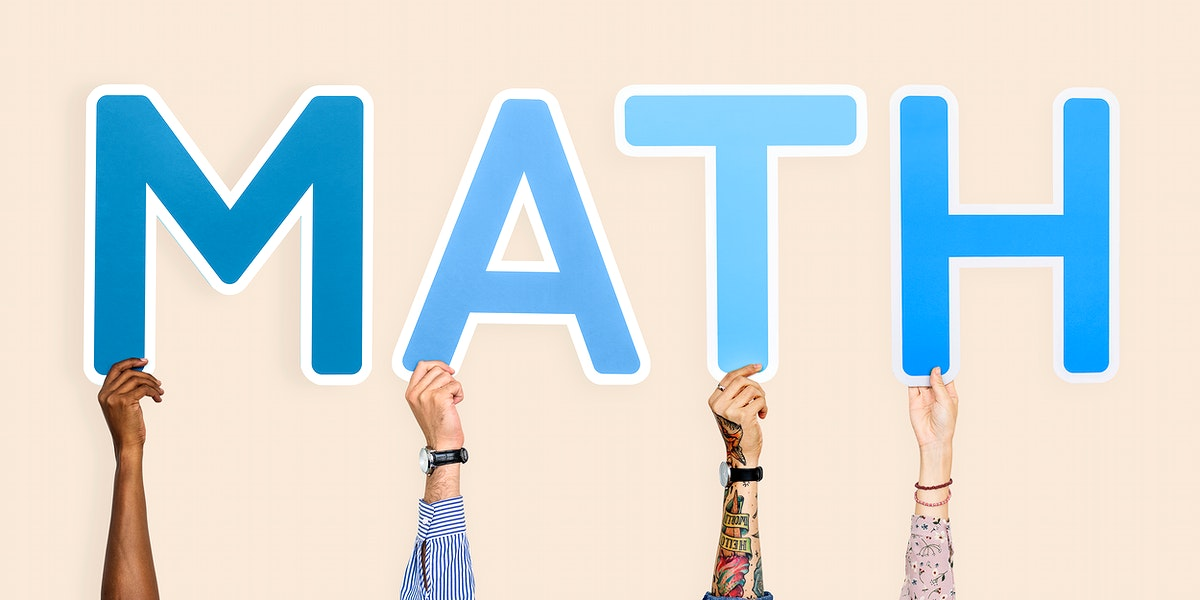 Hands holding the word math