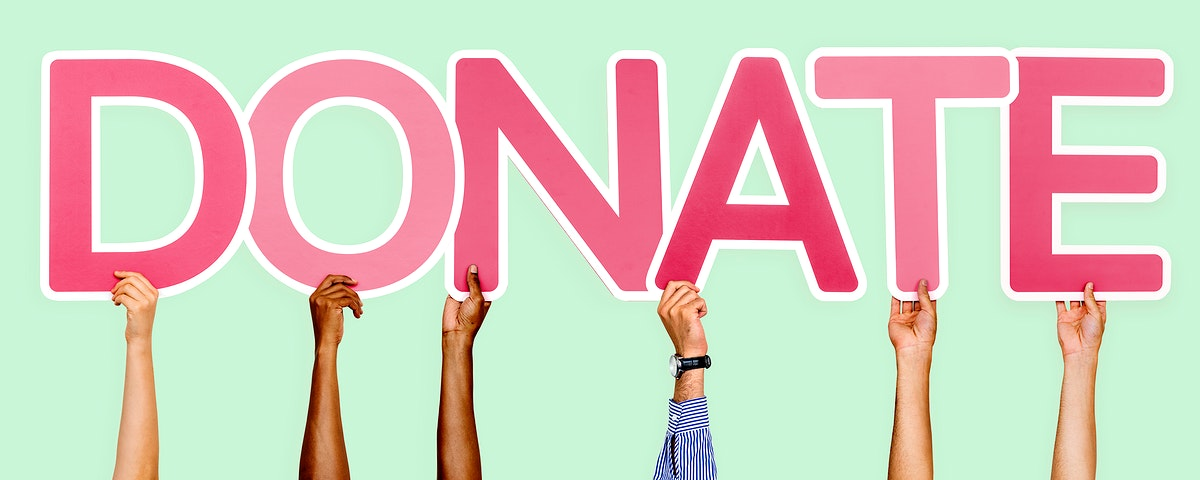 Pink letters forming the word donate