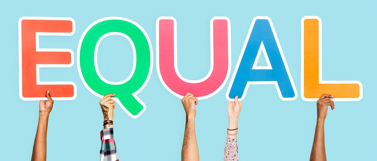 Colorful letters forming the word equal